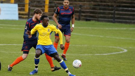 David Moyo scored twice for St Albans City against former club Hemel Hempstead Town. Picture: LEIGH