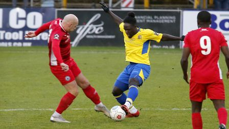 Solomon Sambou battles for control of the ball. Picture: LEIGH PAGE