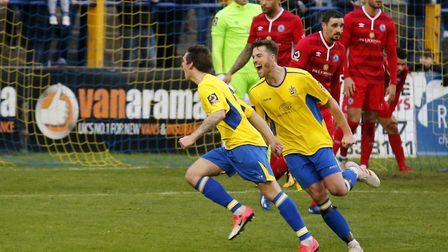 Tom Bender celebrates the opening goal of the game for St Albans City. Picture: LEIGH PAGE