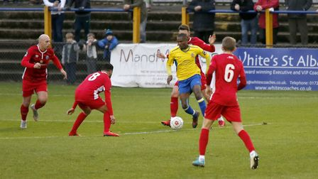 Khale Da Costa looks for a route through a crowded Billericay defence. Picture: LEIGH PAGE