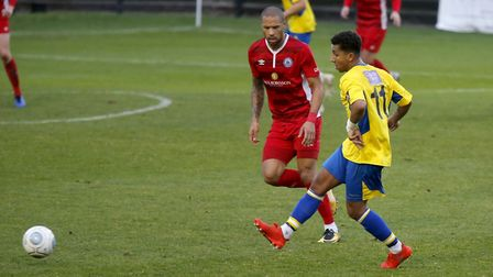 Zane Banton in action against Billericay Town. Picture: LEIGH PAGE