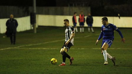 Action from St Ives' clash with Lowestoft. Picture: LOUISE THOMPSON