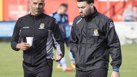 St Neots Town boss Matt Clements (left) with assistant manager Jack Cassidy (right). Picture: CLAIRE
