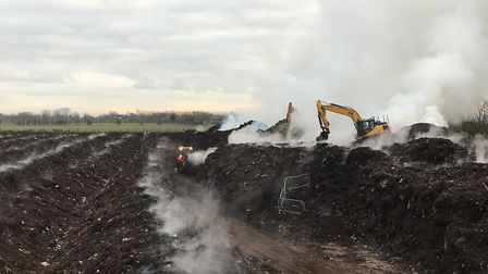 The fire at Envar Composting in Woodhurst. Picture: CFRS