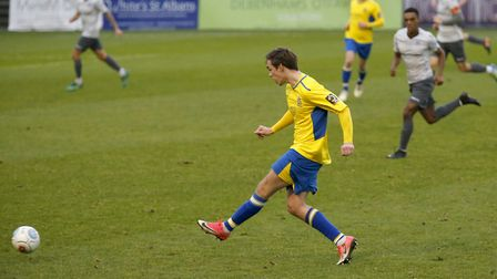 Tom Bender in action against Oxford City. Picture: LEIGH PAGE
