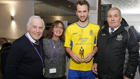 Sam Merson receives the man of the match award. Picture: LEIGH PAGE