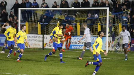 David Moyo celebrates after scoring after 86 minutes. Picture: LEIGH PAGE