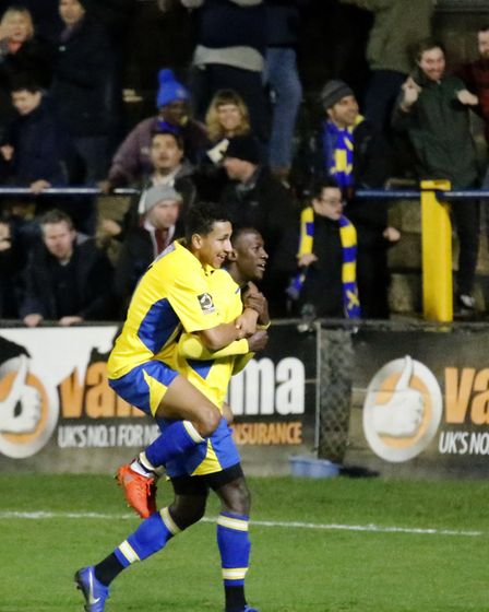 St Albans City celebrate their late winner against Oxford City. Picture: LEIGH PAGE