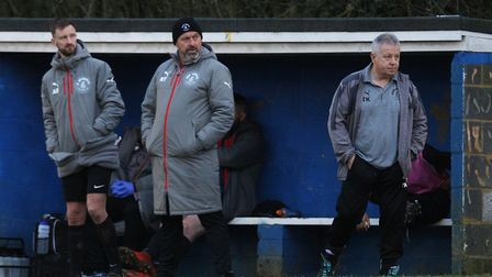 Harpenden Town V Colney Heath - Colney Heath manager Ryan Thompson (middle) and assistant Tony Kavan
