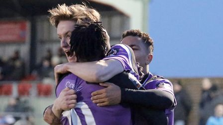 Ben Wyatt celebrates with David Moyo after the striker's equalising goal. Picture: LEIGH PAGE