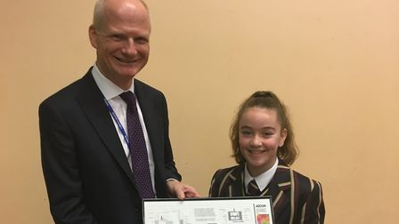 Ch Exec of AECOM, David Barwell and Loreto College pupil Orla Connelly, who won the Imagineers Compe
