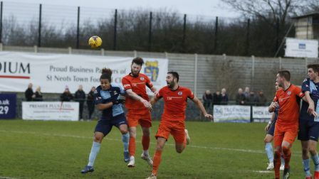 Action from St Neots' clash with St Ives on New Year's Day. Picture: LOUISE THOMPSON