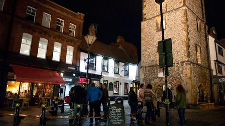St Albans George Street Gin and Jazz event. Patrons by St Albans Clock Tower. Picture: Stephanie Bel