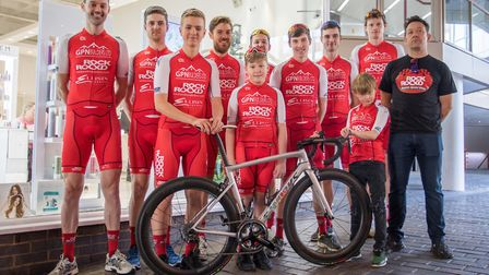 The first GPN Builders Rock and Road Bikes racing squad show off their new colours at the team's off