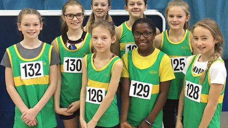 The Hunts AC Under 11 Girls team. Pictured are: Elouise Warman, Zara Sharp, Molly Webster, Anjola Op