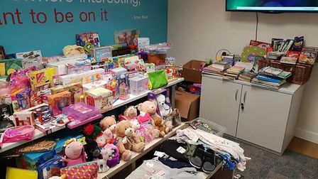 Gifts donated to Reed St Albans for the Rennie Grove Hospice Care Christmas appeal. Picture: Submitt