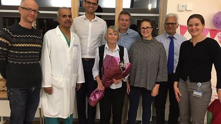 Yvonne, centre, with staff members at the hospital. Picture: CONTRIBUTED