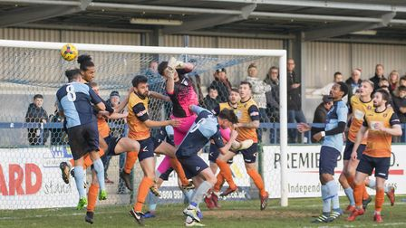 Goalmouth action during the Southern League Premier Division Central clash between St Neots Town and