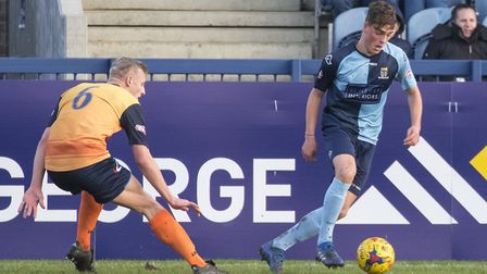 New loan recruit Jack Daldy on the ball for St Neots Town. Picture: CLAIRE HOWES