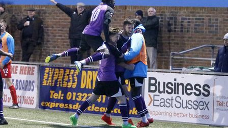 St Albans City players celebrate Lewis Knight's winner against Eastbourne. Picture: LEIGH PAGE