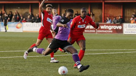 Clovis Kamdjo in action against Eastbourne Borough. Picture: LEIGH PAGE