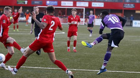 David Moyo has a strike at goal. Picture: LEIGH PAGE