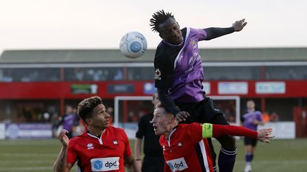 David Moyo rises highest to win a header. Picture: LEIGH PAGE