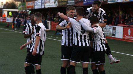 St Ives Town players celebrate their opening goal at Tamworth. Picture: GEMMA THOMPSON