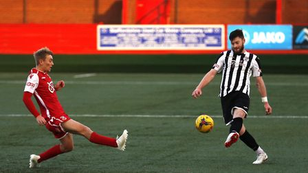 Charlie De'Ath on the ball for St Ives Town at Tamworth. Picture: GEMMA THOMPSON
