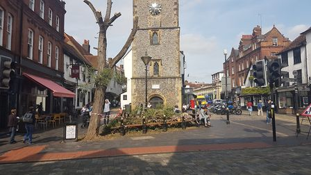 A photo of the tree outside St Albans Clock Tower taken on Tuesday.