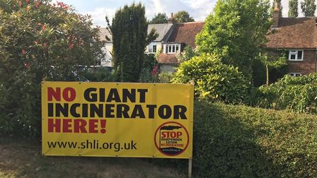 A sign for the Stop Harpenden-Luton Incinerator group.