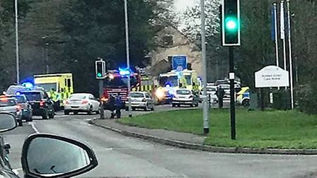 Emergency services at the scene of the incident in Hartford Road, Huntingdon. Picture: CONTRIBUTED