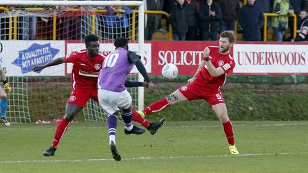 David Moyo tries to curl the ball into the top corner. Picture: LEIGH PAGE