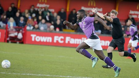 Percy Kiangebeni powers through the middle of the park. Picture: LEIGH PAGE