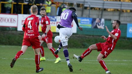 David Moyo has a blast at goal. Picture: LEIGH PAGE