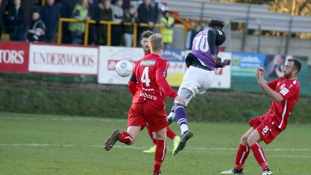 David Moyo tries his luck from range. Picture: LEIGH PAGE