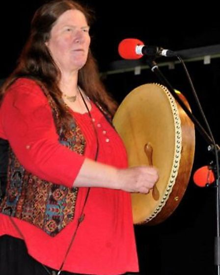 Hilary Blagborough,before her weight loss, playing music for the Morris dancing group
