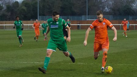 Jake Newman had two early chances as St Ives Town were beaten at Biggleswade Town. Picture: LOUISE T