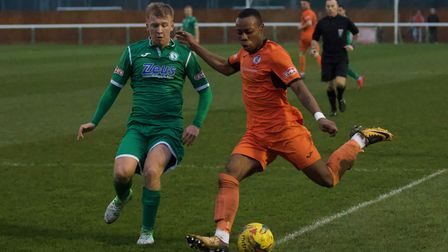 Munashe Sundire on the ball for St Ives Town as they were beaten at Biggleswade Town. Picture: LOUIS
