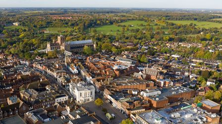 St Albans Cathedral and city centre as photographed by drone pilot Robin Hamman. http://stradigal.co