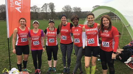 Harpenden Arrows' senior women at the Herts Cross Country Championship.