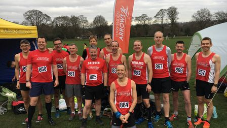 Harpenden Arrows' senior men at the Herts Cross Country Championship.