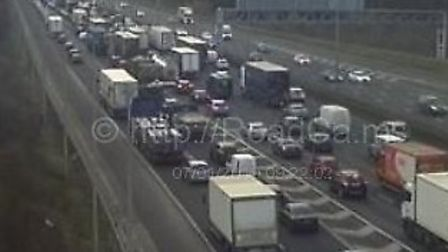 The M1 is gridlocked following a crash involving three cars near St Albans. Picture: MotorwayCameras