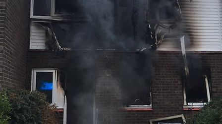 The aftermath of the fire in Marchioness Way, Eaton Socon. Picture: CFRS