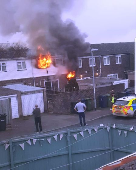 The fire rages at a house in Marchioness Way, Eaton Socon. Picture: AZIZ DHIBI