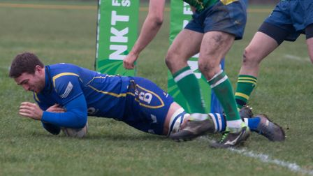 Captain Ollie Bartlett touches down for a try as St Ives saw off local rivals Huntingdon. Picture: P