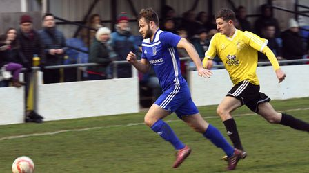 Joe Furness hit the bar during Godmanchester Rovers' FA Vase clash with Sporting Khalsa. Picture: AR