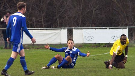 There's frustration for Godmanchester Rovers captain Micky Hyem here, but that later turned to celeb