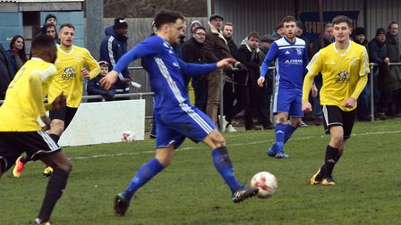 Chris Hyem went close to giving Godmanchester Rovers a first-half lead against Sporting Khalsa. Pict