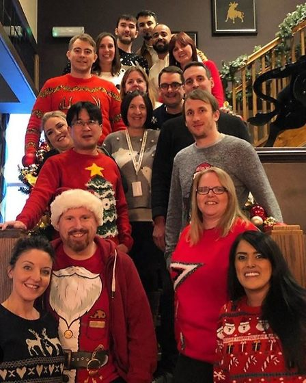 Aon UK's Christmas jumpers.